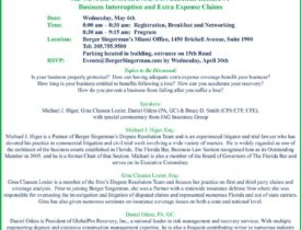 Upcoming Insurance Seminar: Business Interruption and Extra Expense Claims